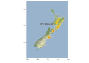 New Zealand earthquake density 2010 - November 2016