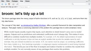 HTML documentation for broom in RStudio